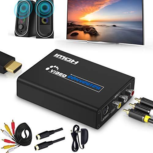 RCA a HDMI Adaptador,AV a HDMI Convertidor, Ippinkan 1080P Mini AV Composite CVBS Video Video Audio Converter Adapter Soporte PAL/NTSC para PC/Laptop/Xbox / PS4 / PS3 / TV/STB/VCR Cámara DVD