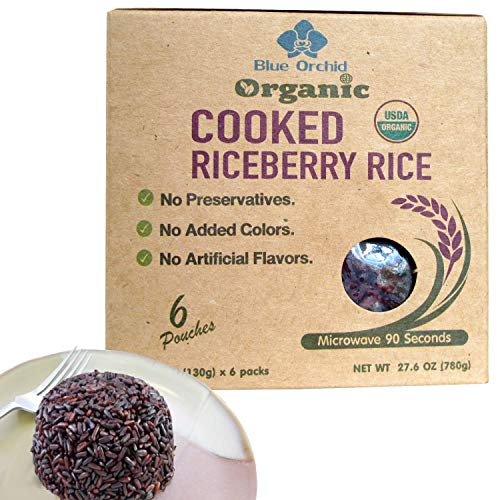100% USDA Certified - Organic Cooked Thai Riceberry Rice - Steamed Rice Microwaveable Pouch from Thailand - Superfood Healthy Ready to Eat 6 x 4.6 oz (Riceberry 6 Pouch)