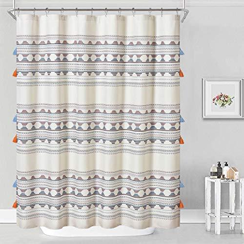 DOSLY IDÉES Boho Tassel Colorful Beige Shower Curtain,Coral Pink Black Navy Blue Geometric Striped Bath Curtain Set with Hooks,Farmhouse,Cute,Tribal,72x72