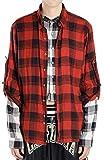FAITH CONNEXION フェイスコネクション CHECK DOUBLE SLEEVES SHIRTS レイヤードシャツ(611 RED/BLACK)Layered Button-Up Shirt【X1800T00228】 (L) [並行輸入品]