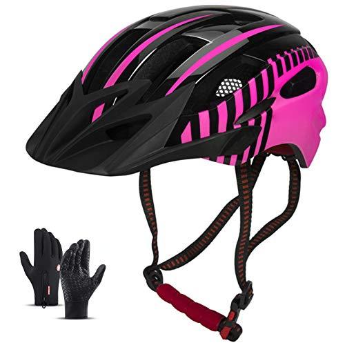 HVW Casco de Bicicleta para Hombres, Mujeres, Carretera/montaña Cascos de Ciclismo de Bicicleta con Visera Solar extraíble LED luz y Guantes Casco de cercanías Ligeras 22-24IN,Rosado