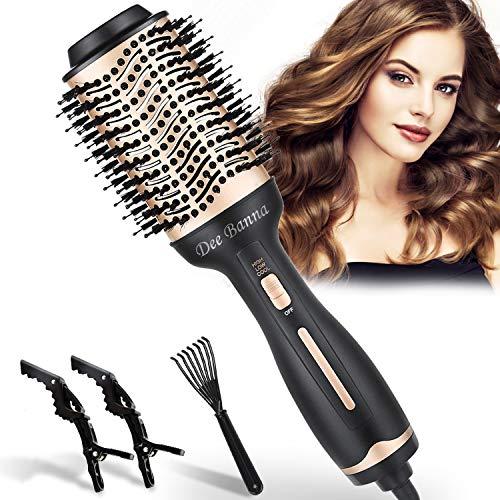 Dee Banna - Cepillo de aire caliente, secador de pelo y volumen eléctrico 4 en 1, cepillo de aire 4 en 1, rizador, peine y plancha para todo tipo de cabello (dorado + negro)