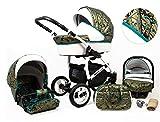 Poussette Landau 3 en1 2en1 Isofix set complet avec siège auto Biancino by ChillyKids Gold Marble 2en1 sans siège bébé
