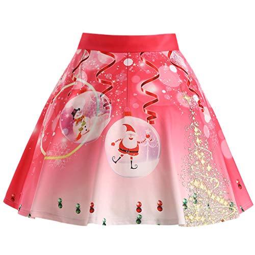 Geilisungren Weihnachtsrock Damen Mode Weihnachtsmann Schneemann Stern Druck Glocken Rock Hohe Taille A-Linie Knielang Röcke für Weihnachten Karneval Festival Party Tanzen