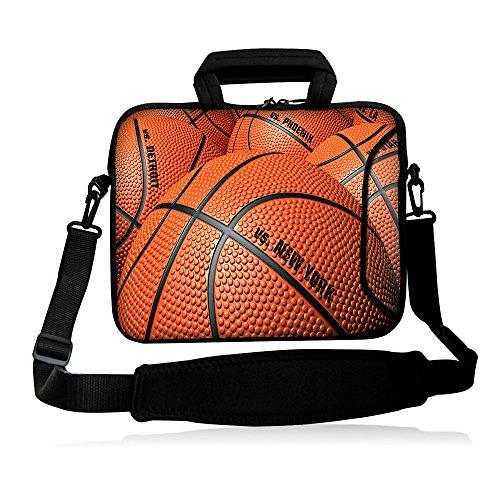 iColor 15' Laptop Bag Case 14.1' 14.2' 15.6' Inch Neoprene Laptop Shoulder Messenger Bag 15.4' Notebook Computer Dual Zipper Case Cover Pouch Holder Pocket-Basketball