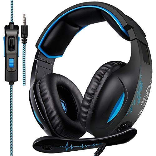 SADES SA816 Gaming Headset for PS4, Xbox One,PC, Controller, Over Ear Bass Surround Headphones with Noise Cancelling Mic, Soft Memory Earmuffs for PlayStation 4 Computer Mac Laptop Nintendo Switch Games