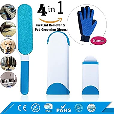 Pet Hair Remover With Self -Cleaning Base| Double-Sided Cat & Dog Hair Brush | Fur and Lint Remover for Furniture, Clothes, Carpet & Car Seats | Grooming Glove | Grooming Tool with Enhanced