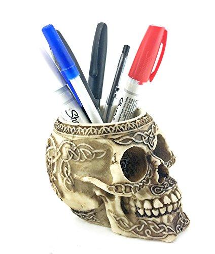 Bellaa 21000 Celtic Knot Skull Pencil Holder 5 inch