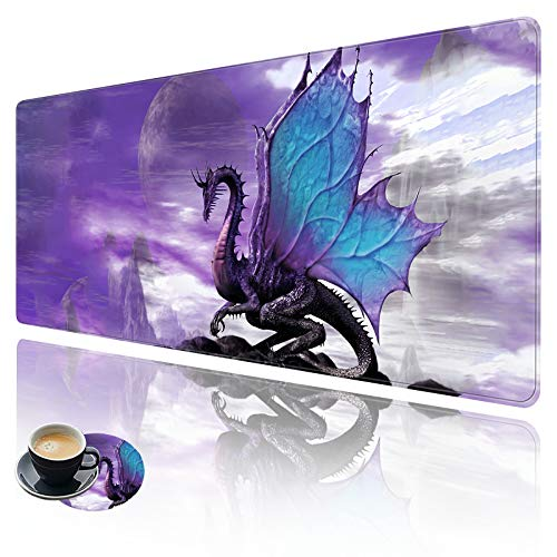 Extended Large Gaming Mouse Pad with Stitched Edges, XXL Mouse Pad Large (31.5x11.8 Inch) w/ Brilliant Design, Desk Mat Keyboard Pad with Anti Slip Base, Multifunctional Desk Pad - Purple Dragon