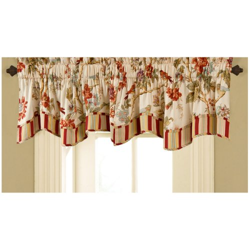 """WAVERLY Valances for Windows - Charleston Chirp 50"""" x 16"""" Short Curtain Valance Small Window Curtains Bathroom, Living Room and Kitchens, Multicolor"""