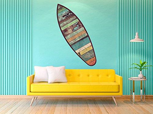 Oedim Tabla de Surf Madera Vieja | 150x45cm | Fabricado en Vinilo Adhesivo Resistente y Económico | Pegatina Adhesiva Decorativa de Diseño Elegante