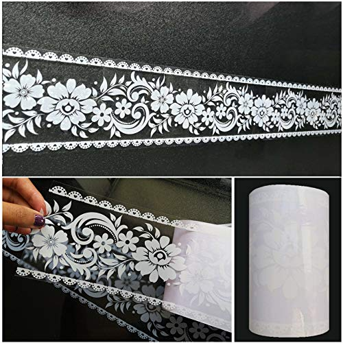 Wallpaper Border Stick and Peel - Transparent Floral Lace Wallpaper Mirror Glass Decor Tile Removable Waterproof Window Stickers, 393.7' x 3.9 Inches Wide