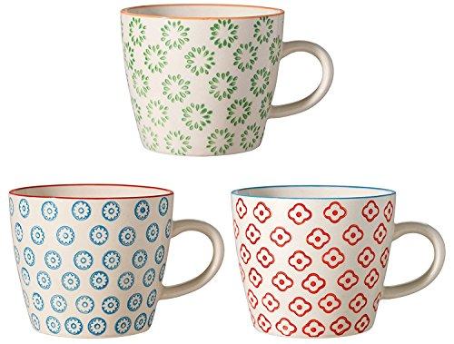 Bloomingville Tassen Emma, rot grün blau, Keramik, 3er Set