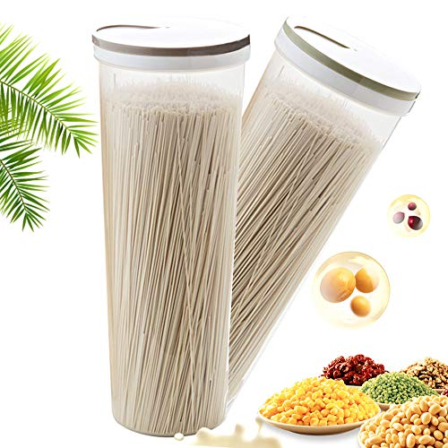 Elinala Nudeln Container, 2 Stück Aufbewahrungsbehälter für Getreide, Mehrzweck-Küchenkunststofflagerung mit Drehbarem Deckel zur Aufbewahrung von Nudeln, Getreide und Trockenfutter.