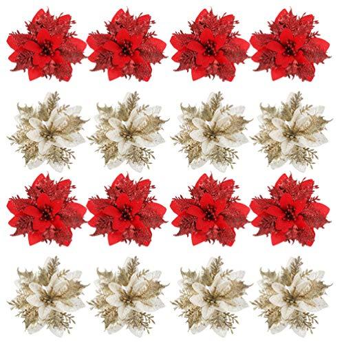 Toddmomy 24 Pezzi Glitter Poinsettia Albero di Natale Ornamento Matrimonio Artificiale Natale Poinsettia Fiori per Albero di Natale Ghirlande di Natale Decor