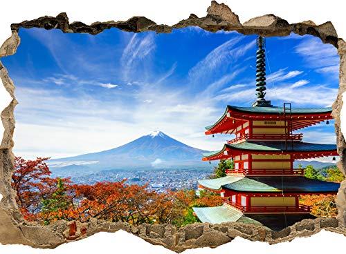 wandmotiv24 3D-Wandsticker Mount Fuji-Chureito Pagoda, Design 01, 120x90cm (BxH), Aufkleber Wand-deko, Wandbild, 3D Effekt, Fenster, Mauer, Wandaufkleber, Sticker M0552