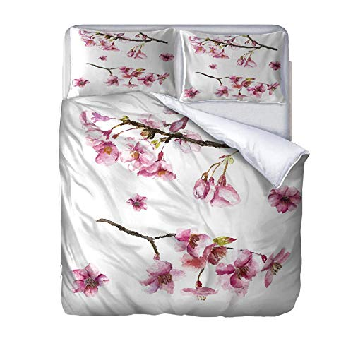 SUZIHUA Double Duvet Cover With 2 Pillowcases,Oil Painting Winter Plum,With Zipper Closure In Polyester Printed Quilt Cover Bedding Set 3Pcs,Quilt Cover Bedding Set 3Pcs