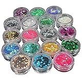 Ungfu Mall 18 Farben Glitzer-Staub Hexagon Nail Art Glitter Pailletten Powder für Make-up und...