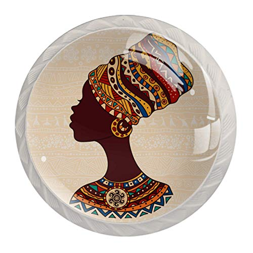 4 Pack Kitchen Cabinet Knobs,Knobs for Dresser Drawers African Woman in A...