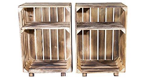 Vinterior 2er Set Nachttisch mit Boden in geflammt- flambierte Nachttische mit Ablagefach - Möbel aus Obstkisten neu - rustikal und stabil 30,5x40x54cm