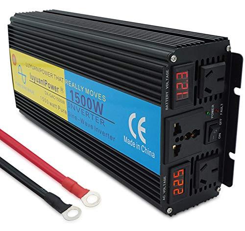 Inversor 12V a 220V Onda sinusoidal Pura 1500W, con Doble Socket de CA Universal y Puerto USB para la Emergencia del Sistema Solar del automóvil RV