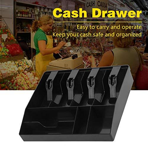 Cuatro compartimentos para billetes Cuatro compartimentos para monedas Bandeja de almacenamiento de efectivo, cajón de efectivo, duradero para sellos, caja chica(black)