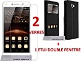 2 Films Vitre Verre Trempé + 1 coque Etui coque housse noir HUAWEI Y5 2 , HUAWEI Y5II ,Huawei Honor...
