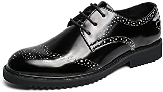CAIFENG Negocios para Hombres Oxford Casual New Light Patent Pated Anti-Skid Brogue Shoes (Color : Silver, Size : 42 EU)