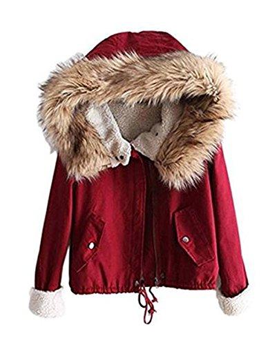 Sevenelks Damen Mädchen Winterjacke Jacke Mantel mit Kapuze Rot