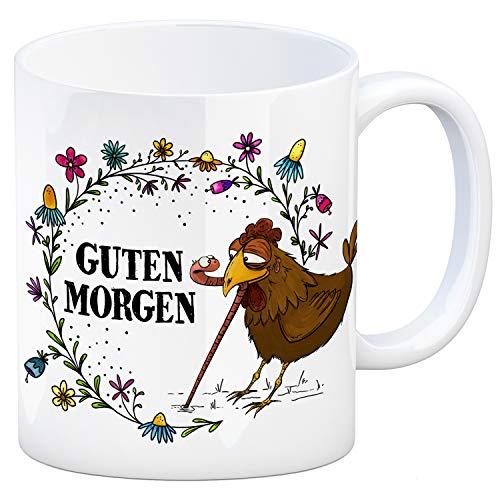 trendaffe - Guten Morgen Kaffeebecher mit Huhn und Wurm Motiv Regenwurm Hahn Hühner Henne