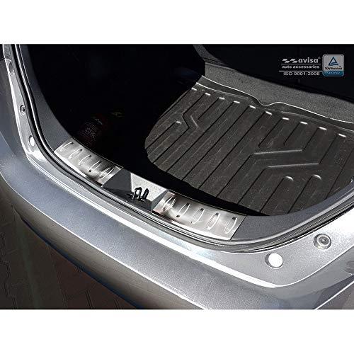 Avisa Protection de seuil arrière d'intérieur inox compatible avec Nissan Leaf II 2017- 'Ribs'