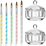 7 Herramientas de Cuidado de Manicura Artística Incluyes 2 Tazones de Vidrio Transparente de Arte de Uñas Taza de Platos de Dappen con Tapa y Juego 5 Plumas/Cepillos de DIY de Gel UV de Pintar