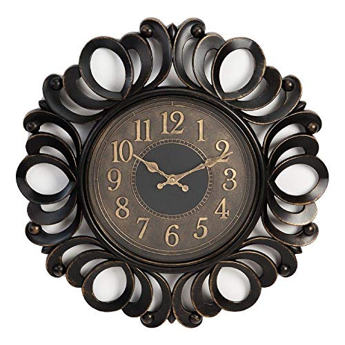 Widdop - Reloj de Pared (plástico, 45 cm), diseño de Espiral, Color Negro