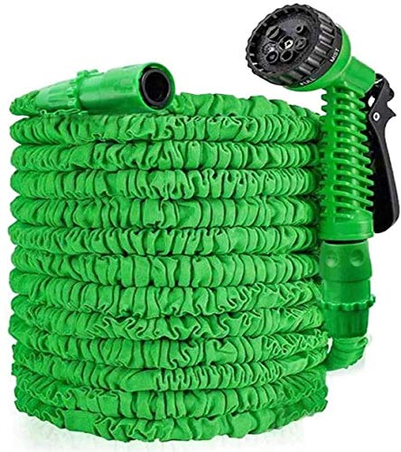 Alittle 25FT/50FT/100FT/150FT Expandable Garden Hose, Leak Resistant Water Hose Pipe, Flexible Magic Hosepipes with 8 Function Watering Gun/Storage Bag/Tap Connectors for Watering Green (100)