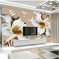 Xbwy 装飾壁画立体レリーフユリの花壁画壁紙モダンシンプルベッドルームリビングルームテレビソファ背景-200X140Cm