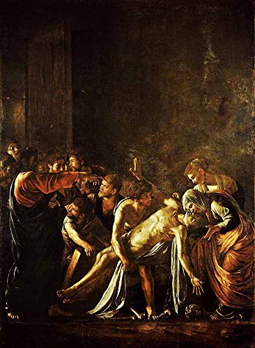 JH Lacrocon Michelangelo Merisi da Caravaggio - La Resurrección Lázaro Reproducción Cuadro sobre Lienzo Enrollado 80X120 cm - Pinturas Religioso Impresións Decoración Muro
