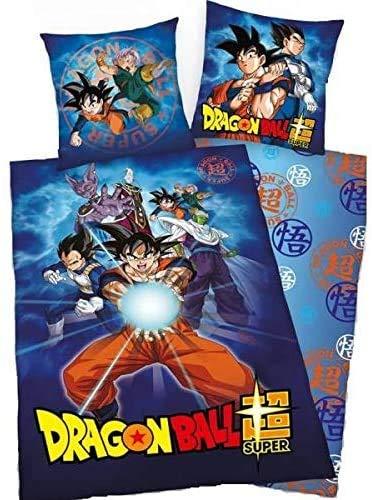 Dragon Ball Z - Juego de funda nórdica de 140 x 200 cm + funda de almohada de 63 x 63 cm + peluche Dragon Ball Z (Goku)