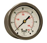 Winters PFQ Series Stainless Steel 304 Dual Scale Liquid Filled Pressure Gauge with Brass ...