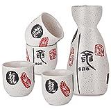 Panbado Juego de Sake de 5 Piezas de Gres, Conjunto Tradicional Japonés con 1 Botella de Sake y 4 Sake Cups de Cerámica, Estilo Japonés, Mejor Regalo de Cumpleaños, Navidad - Caracteres Chinos