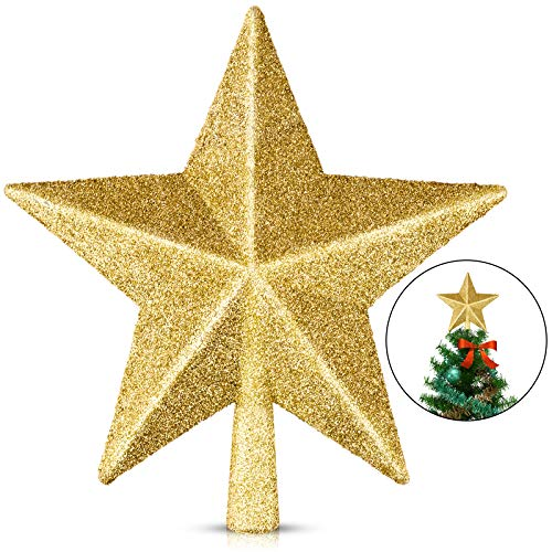 EAONE 1 Pack 6' Star Christmas Tree Topper, Gold Glittered Christmas Tree Decoration for Party Home Decor