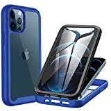 CENHUFO Compatible with iPhone 12 / iPhone 12 Pro Case, with Built-in Screen Protector Shockproof Clear Cover 360° Full Body Protective Case for iPhone 12 / iPhone 12 Pro (Dark Blue)