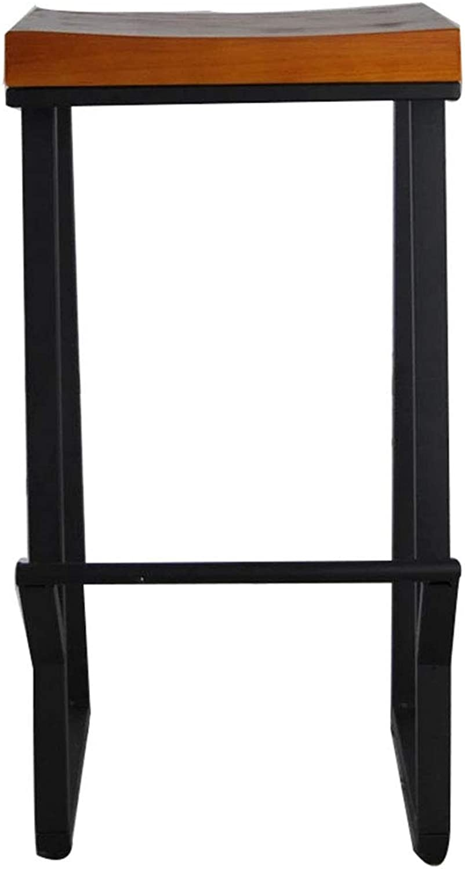 American High Chair Retro Solid Wood Bar Stool Casual Cafe Bar Stool