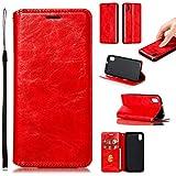 LODROC Cover Xiaomi Redmi 7A Flip Cover Custodia Protettiva Caso Libro in Pelle PU con Portafoglio, Funzione Supporto, Chiusura Magnetica per Xiaomi Redmi 7A - LOYKB0200437 Rosso