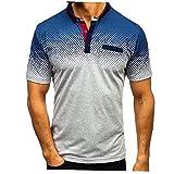 EElabper Camisa para Hombre para Hombre Degradado Campo De Tenis Vuelta-Abajo Camiseta De Manga Corta De Tapas