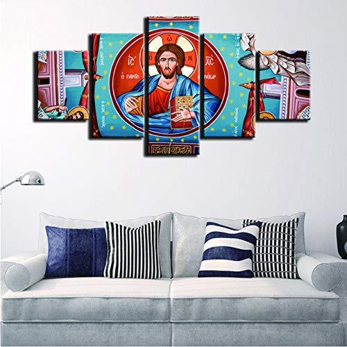 ZKLIB HD Lienzo de impresión Cuadros modulares Arte de la Pared Pintura 5 Paneles Virgen María Moda para Sala de Estar decoración Cartel