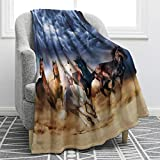 Jekeno Galloping Horse Blanket Cowgirl Cowboy Western Soft Warm Print Throw Blanket for Couch Bed Chair Office Sofa 50'x60'