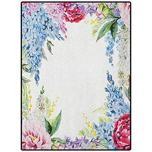 Flower Simple Rug Carpet for Kids Room Girls Boys Indoor Dorm Nursery Springtime Fragrance Garland with Bunch of Flowers Lilac Lavender Rose Peony Artsy Print Multi 72' x 48'