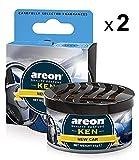 Areon Ken Deodorante Auto Nuova New Car Ambiente Profumatore Contenitore Scatola Originale Profumo Interni Casa 3D ( Set x 2 )