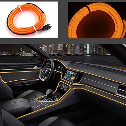 El Draht Auto 5Mt/16Ft Neonlicht 12V Led Kalte Lichter Flexible Neon El Draht Auto Lampen Für Hochzeit Auto Dekorationen (Orange)