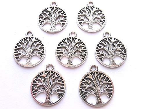 10 Anhänger Lebensbaum Charms Baum des Lebens Farbe antiksilber Metall #S030
